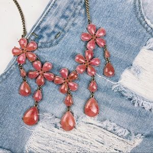 Stunning Flower Jewel Pink Marble Necklace